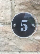 MODERN HOUSE SIGN PLAQUE DOOR NUMBER BLACK ACRYLIC CLEAR GLASS EFFECTS round 4