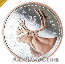 2018 $50 5OZ. FINE SILVER COIN BIG COIN SERIES 25 Cents Caribou 99.99%