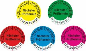 UVV Prüfplaketten Nächster Prüftermin 22 -27 gelb rot grün blau magenta (2002)