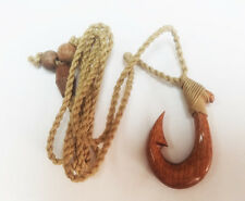 Hawaiian Hand carved Polynesian Koa Wood Fish Hook Pendant Necklace/Chocker