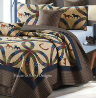 WEDDING RING HORSES 3pc ** King QUILT SET : WESTERN COWBOY HORSESHOE COUNTRY