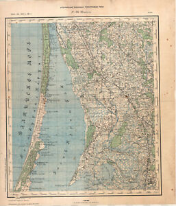 1936 vintage Russian Military Topographic Map – SILUTE (Lithuania) 1:100 000