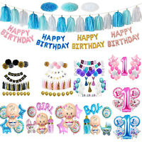 Pink Girl's Blue Boy's 1st Birthday Party Self Inflating Balloon Banner Bunting