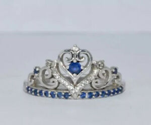 Zales Sterling Silver Lab-Created Blue & White Sapphire Tiara Ring 925 MSRP $169