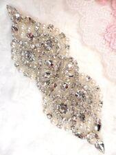"Crystal Rhinestone Applique Silver Pearl Beaded  Bridal Patch 4.75"" (GB612)"
