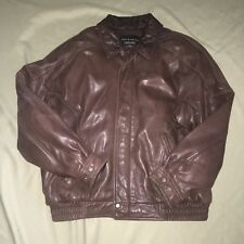 Vintage Croft & Barrow Leather Jacket Bomber Brown Large Classic