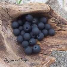 50 Bohemian Beads 8 mm Effect Rubberized (Black)