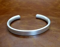 """Men's Gents Heavy """"Matte Look"""" Solid Sterling Silver Open Bangle Torque Bracelet"""