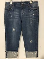 Apt 9 Womens 14P Distressed Cropped Jeans 14 Petite Cuffed Hem Medium Dark Wash