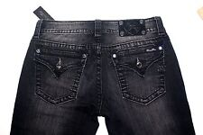MISS ME Black Gray Skinny Mid Jeans Crystals JS4009539 Size 27 Inseam 30.5""