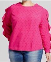 Ava & Viv Ruby Pink Long Slv Ruffle Blouse Women's Plus Size X, 1X, 3X, 4X NWT