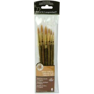 Royal and Langnickel, Gold Taklon Value Pack, Brush Set (Round 1, 3, 5, 6, 8,...