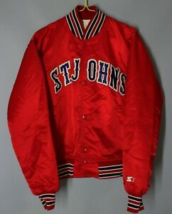 VINTAGE ST. JOHN`S RED STORM SATIN JACKET BY STARTER SIZE M NCAA USA RARE