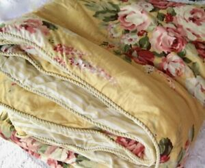 VTG Yellow Floral Comforter Cabbage Roses Full Queen French Country Shabby Chic