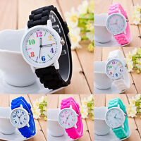 Women's Unisex Geneva Jelly Silicone Band Quartz Analog Sport Wrist Watches Girl