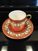 Vintage AYNSLEY Demitasse Cup & Saucer Floral Gold Gilded Bone China England