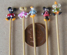 1:12 Hand Made Mickey & Friends (5) On A Stick Dolls House Miniature Nursery Toy