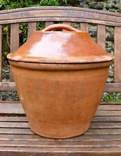 More details for large 19th century victorian terracotta glazed redware bread crock.
