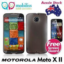 TPU Gel Jelly Case Cover for Motorola Moto X II 2nd Gen Dark Grey + SP