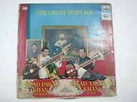 IMRAT HUSSAIN KHAN VILAYAT GREAT HERITAGE SURBAHAR SITAR 1966 LP CLASSICAL vg