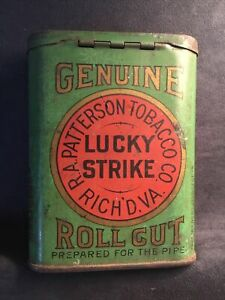 Vintage LUCKY STRIKE TIN -- Genuine Tobacco Pocket Roll Cut for the Pipe 1940s