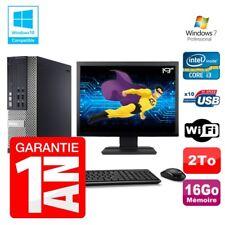 """PC Dell 7010 SFF Intel I3-2120 RAM 16Go Disque 2To DVD Wifi W7 Ecran 19"""""""