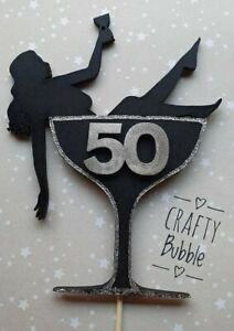 *WOODEN* WOMAN PROSECCO/WINE GLASS SILHOUETTE CAKE TOPPER ANY COLOUR/AGE