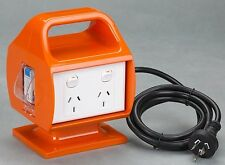 Builder Portable 4 Outlet/ 2x Double Power Point GPO 10 Amp Safety Switch RCD