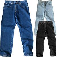 Mens New Straight Leg Plain Work Heavy Duty Denim Jeans Trousers Pants Bottoms
