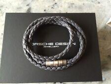 Porsche Design Bracelet Grooves Triple Stainless Steel Leather Gray 21 5 Cm