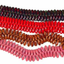 160 Czech Glass Dagger Drop Beads 3x11mm 4 Color Mix Red Pink Opaque and Picasso