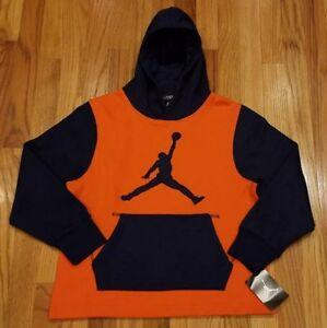 Air Jordan Boy's Jumpman Hoodie Sweatshirt Orange/Navy 952421 008 Size Medium