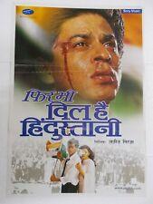PHIR BHI DIL HAI HINDUSTHANI 2000 SHAH RUKH JUHI CHAWLA  Rare Poster Bollywood
