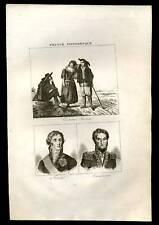 Trajes bretones Fouché y Cambronne GRABADO DE 1836