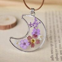 Dried Flower Moon Wish Necklace Natural Real Pressed Resin Glass Pendant Jewelry