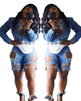 Fashion Women Pockets Ripped Hole Skinny Casual Short Jeans Denim Pants Bottoms