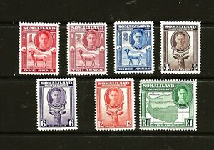 SOMALILAND (Z-786) 1948 DEFINITIVE FULL FACE  7 VALUES TO 1r MM / MH
