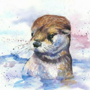 Limited Print of OTTER original watercolour by HELEN APRIL ROSE   378