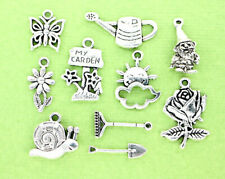 Gardening Charm Collection Antique Silver Tone 10 Different Charms - COL060