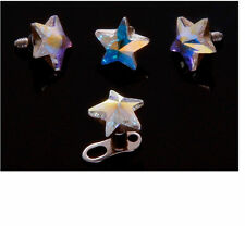 5mm Irridescent CZ Floating Star Micro Dermal TOP Body Jewelry BUY 5 GET 5 FREE!