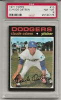 1971 TOPPS #10 CLAUDE OSTEEN,  PSA 8 NM-MT, LOS ANGELES DODGERS, CENTERED, L@@K