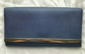 Michael Kors Tilda Saffiano Leather Clutch Bag Navy Blue Gold Bar Hardware NEW