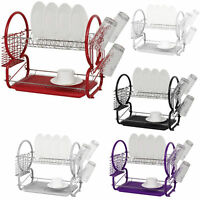 2 Tier Chrome Metalic Dish Drainer Cutlery Cup Plates Holder Sink Rack Drip Tray