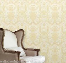 Gold & Cream, Damask Design, Italian Vinyl Wallpaper by Holden Decor 33871