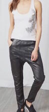 Pantalon cuir noir agneau coupe carrot chino bas et taille zip BEL AIR taille 38