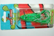 """zman bass hollow body frog leap frogz walking  2.25""""  topwater green leopard"""