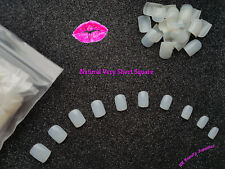 600x Square False Nails VERY SHORT Length Stick On Tips NATURAL - UK SELLER