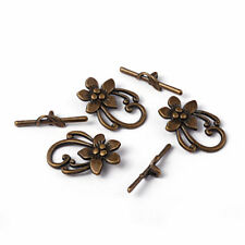 10 Sets Tibetan Alloy Flower Toggle Clasps Nickel Free Bronze Findings 28x20mm