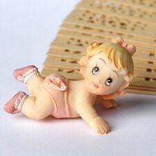 24 Statuina dipinta mano nascita bomboniera battesimo bambina gattona neonata