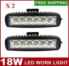2X 6INCH 18W LED WORK LIGHT BAR Spot Flood OFFROAD DRIVING 4WD LAMP ATV UTE 12V